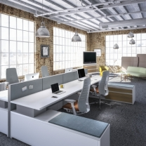 <p>  Systems furniture allows you to easily create a complete, cohesive space that easily adapts to rapidly changing business and technology climates. Our extensive offerings provide you with unlimited planning options that range from conventional planning to full off-modular capabilities. Panel configurations are endless and range from fully segmented and stackable to uniform and monolithic, with state of the art acoustical construction. They can be specified in a variety of surface materials that enhance&nbsp;end user productivity by integrating whiteboards, tackable fabrics, and slat walls that incorporate ergonomic work tools.&nbsp;</p>